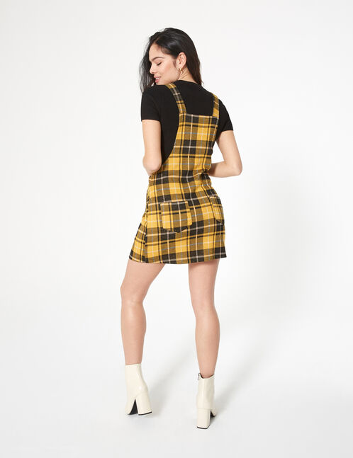 Ochre, black and cream checked dungaree dress
