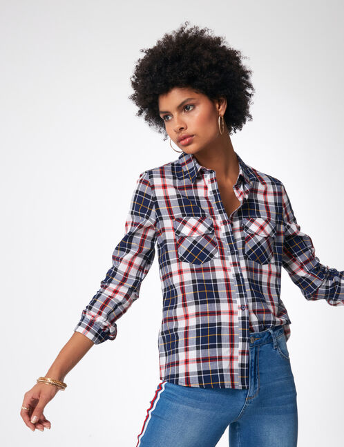 Navy blue, red, yellow and white checked shirt