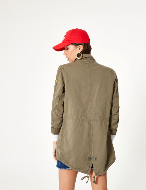 Khaki military-inspired jacket