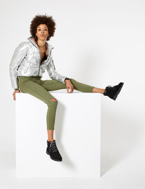 Light khaki ripped trousers