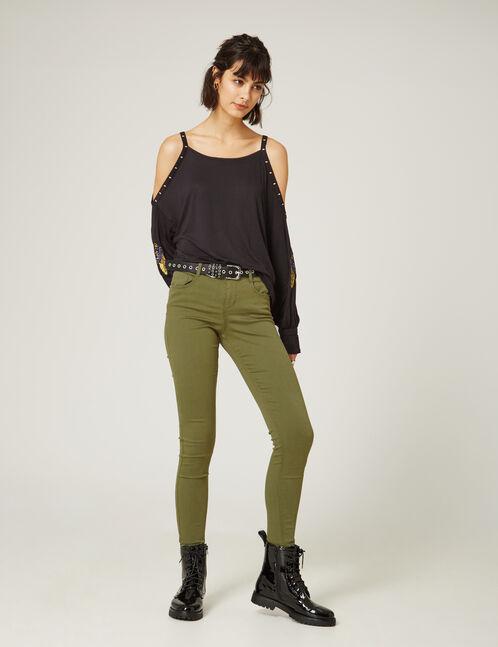 Khaki skinny push-up trousers