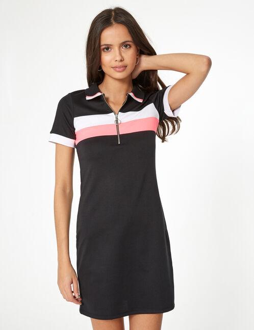 robe esprit polo noir, blanc et rose fluo