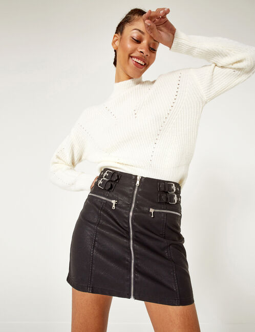 Black skirt with buckle detail