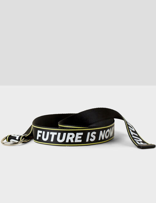 """Black and white """"future is now"""" belt"""
