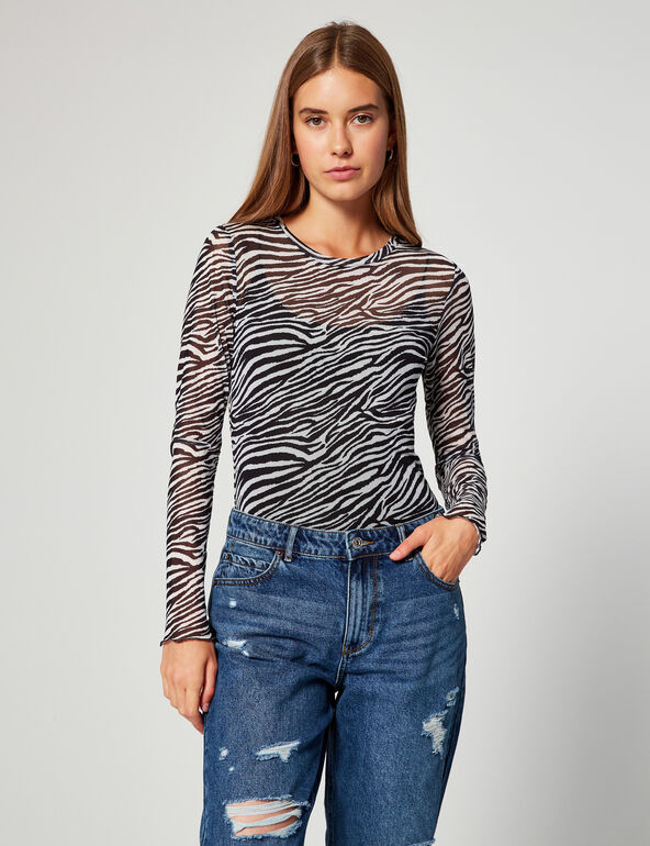 Zebra-striped mesh top