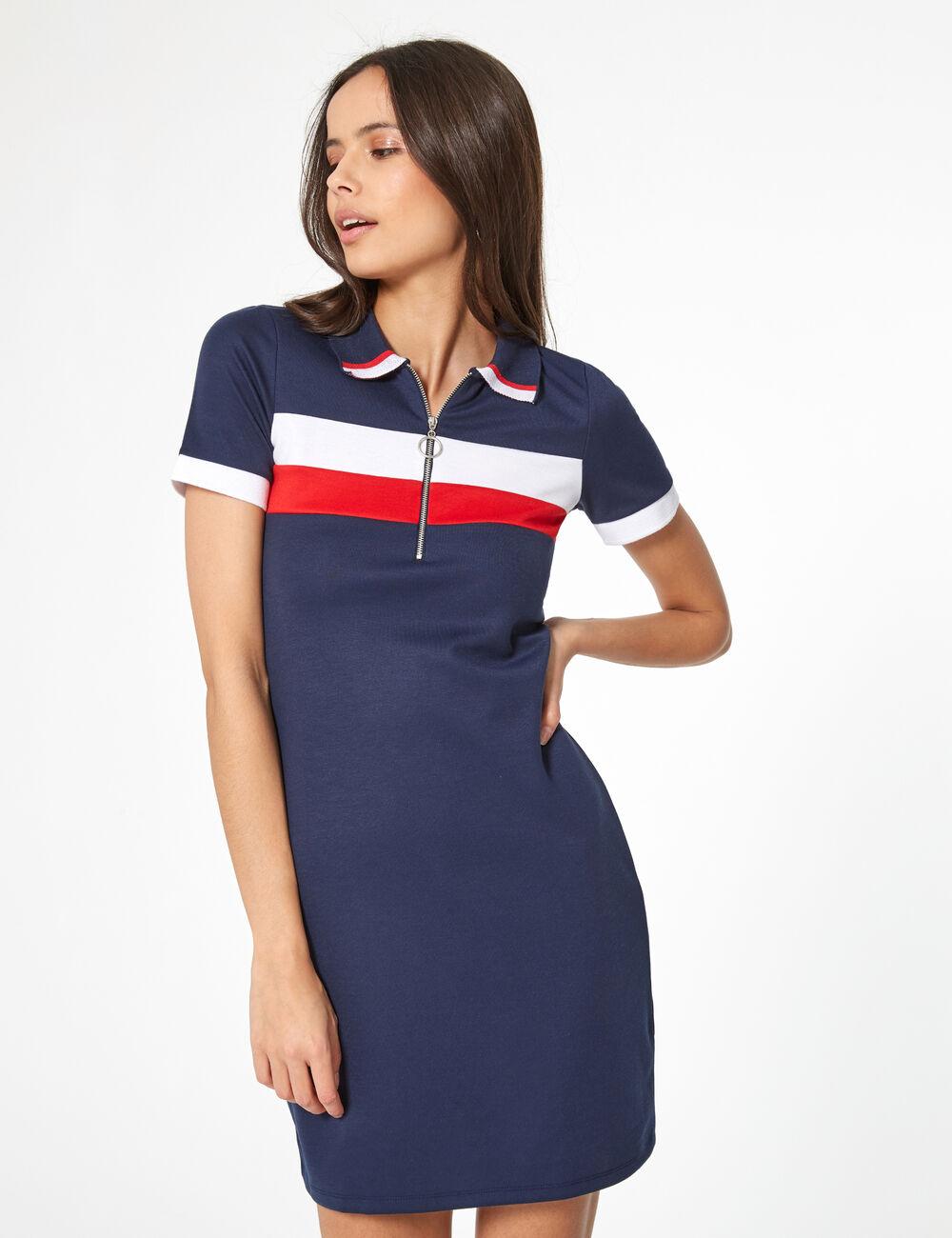 de3a8cd802d Robe esprit polo bleu marine blanche et rouge femme • Jennyfer