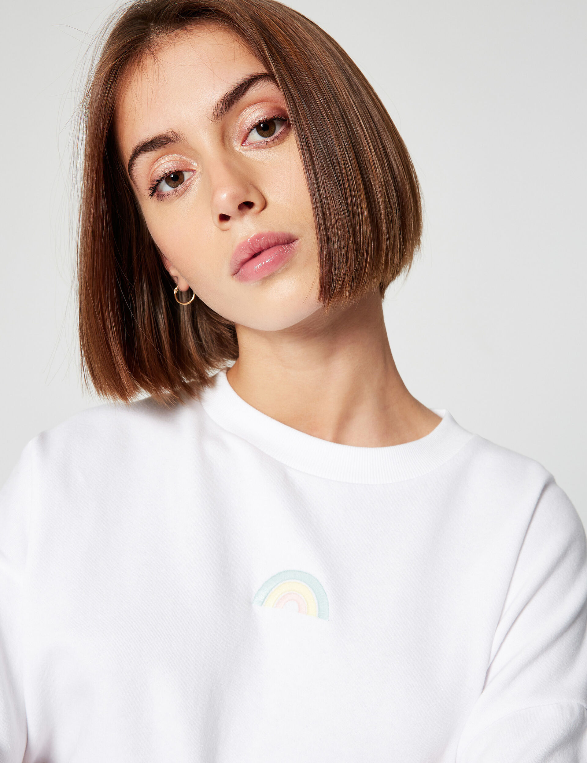 Embroidered rainbow sweatshirt