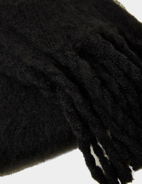 écharpe franges tressées noire