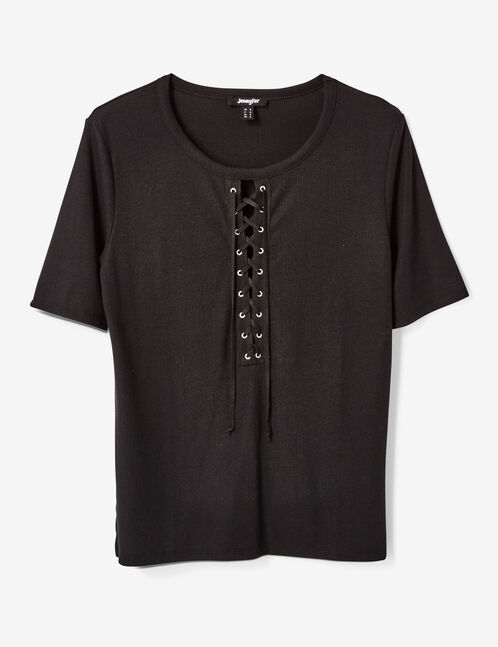 Black top with lacing detail