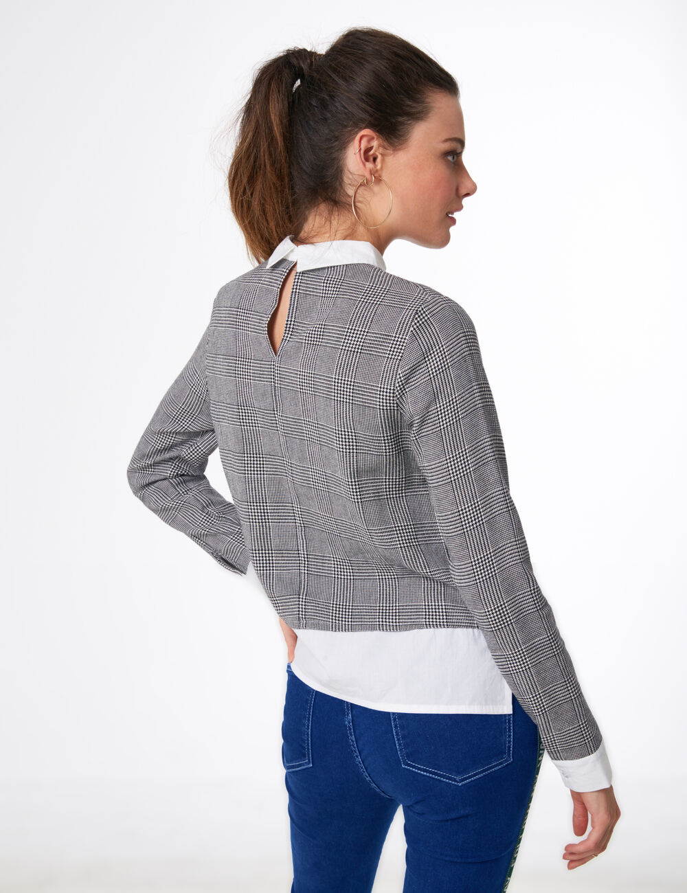 In Baqrb Blusa cuadrosJean En Camisa Jennyfer Mujer • a xorBedC