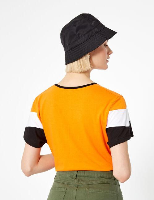 Orange, black and white T-shirt with chevron detail