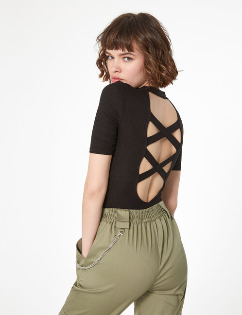 black backless bodysuit with lacing detail