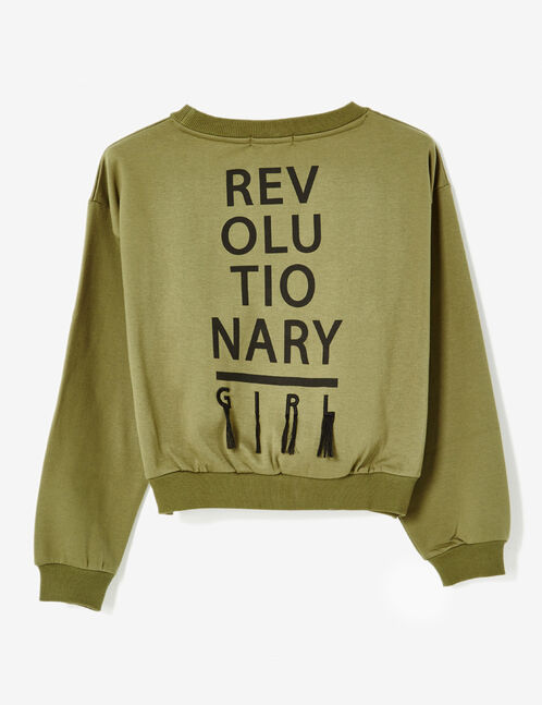 Cropped khaki sweatshirt with text design detail
