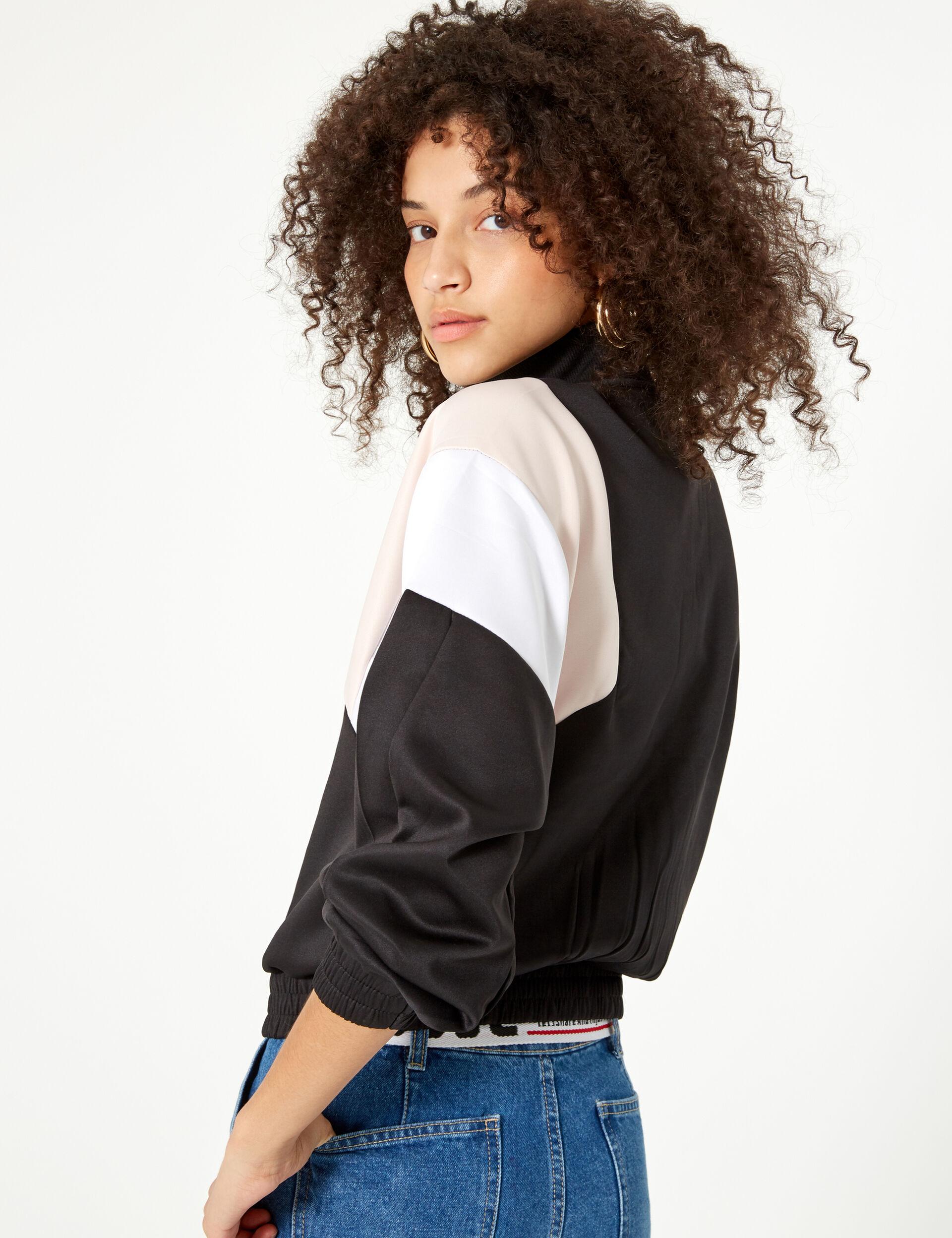 Black, white and pale pink zip-up jogging jacket