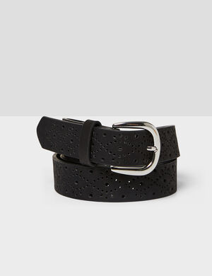 Product Ceinture, noir, simili, perforé, boucle métallerie argentée. Photos retouchéesMarque Jennyfer Catégorie ceintures