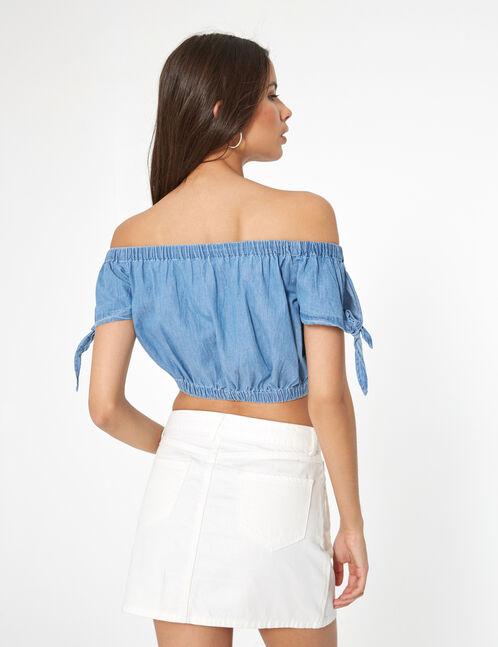 blouse crop top en jean  bleue
