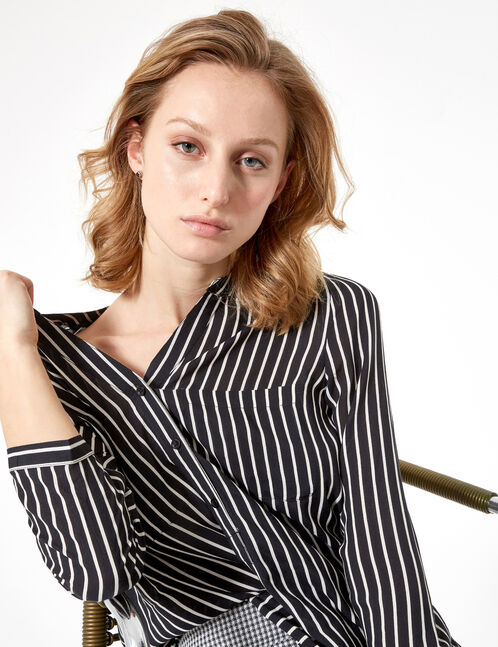 chemise col v rayée noire et blanche