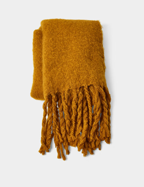 Ochre scarf with braided fringing