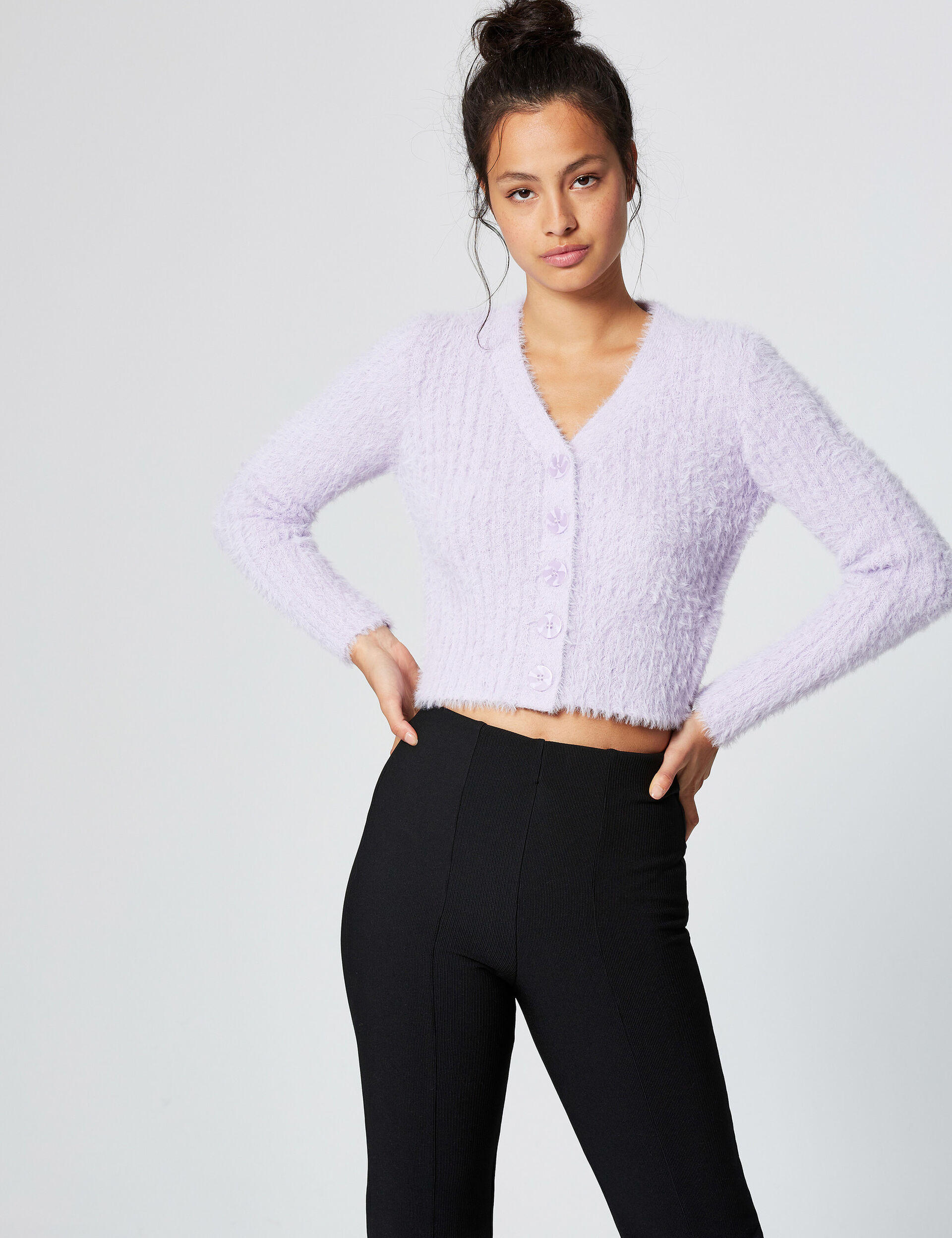 Cropped mohair-effect cardigan