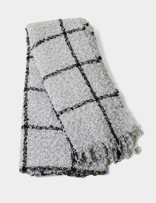 écharpe texturée à carreaux grise et noire