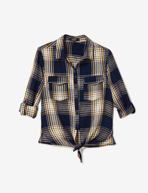chemise à carreaux à nouer bleu marine, écrue et jaune