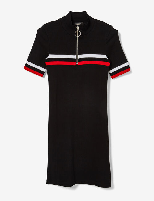 Black, red and white sporty dress