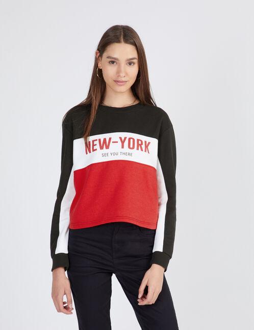 sweat tricolore new york noir, blanc et rouge