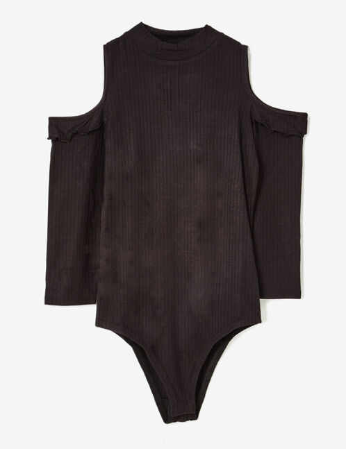 Black cold shoulder bodysuit