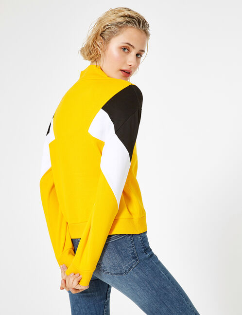 Yellow, black and white sweatshirt with panel detail