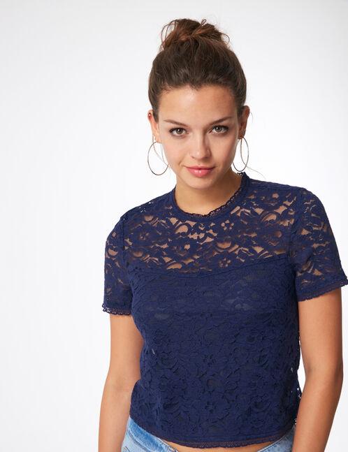 blouse en dentelle bleu marine