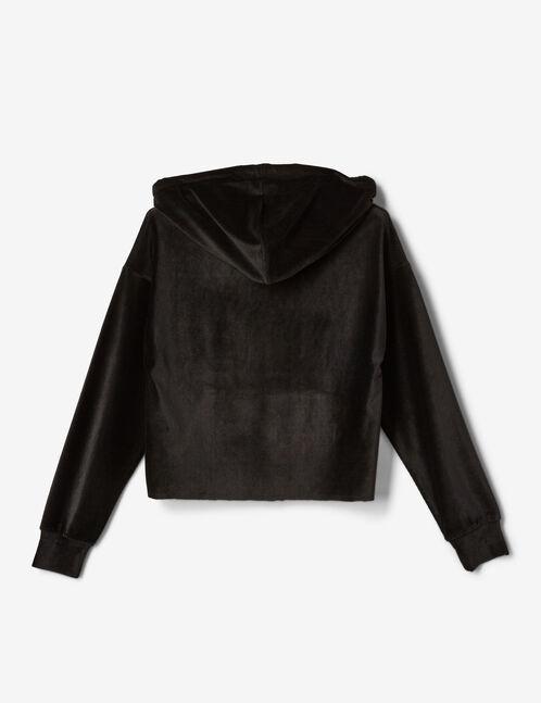 sweat velours à capuche noir