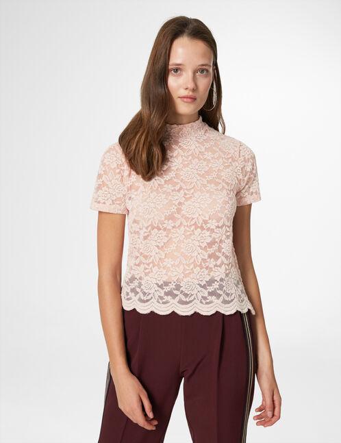 tee-shirt en dentelle rose clair