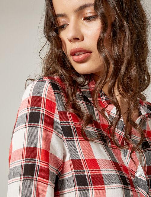 Chemise à carreaux rouge, noire et blanche