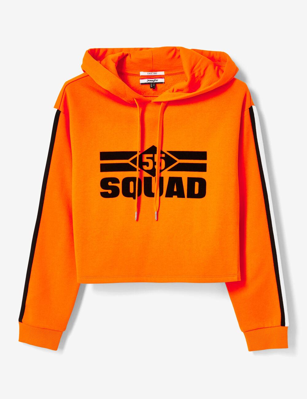 6814ddf380ada Sweat à capuche 55 squad orange femme • Jennyfer