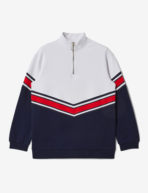 Long navy blue and white chevron hoodie