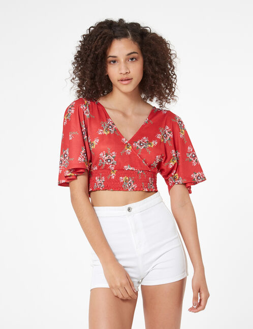 floral top with plunging v-neck