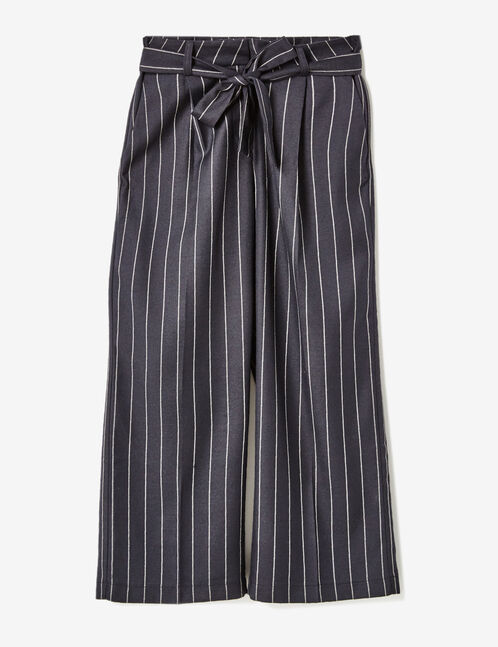 Navy blue and cream pinstripe tailored trousers