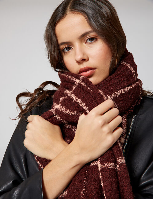 Plum and cream textured checked scarf