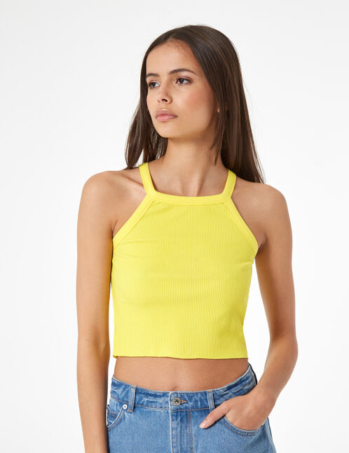 rib-knit halter-neck top