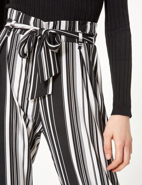 pantalon fluide rayé noir et écru