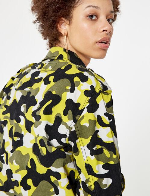 veste courte camouflage kaki jaune et noir et blanc