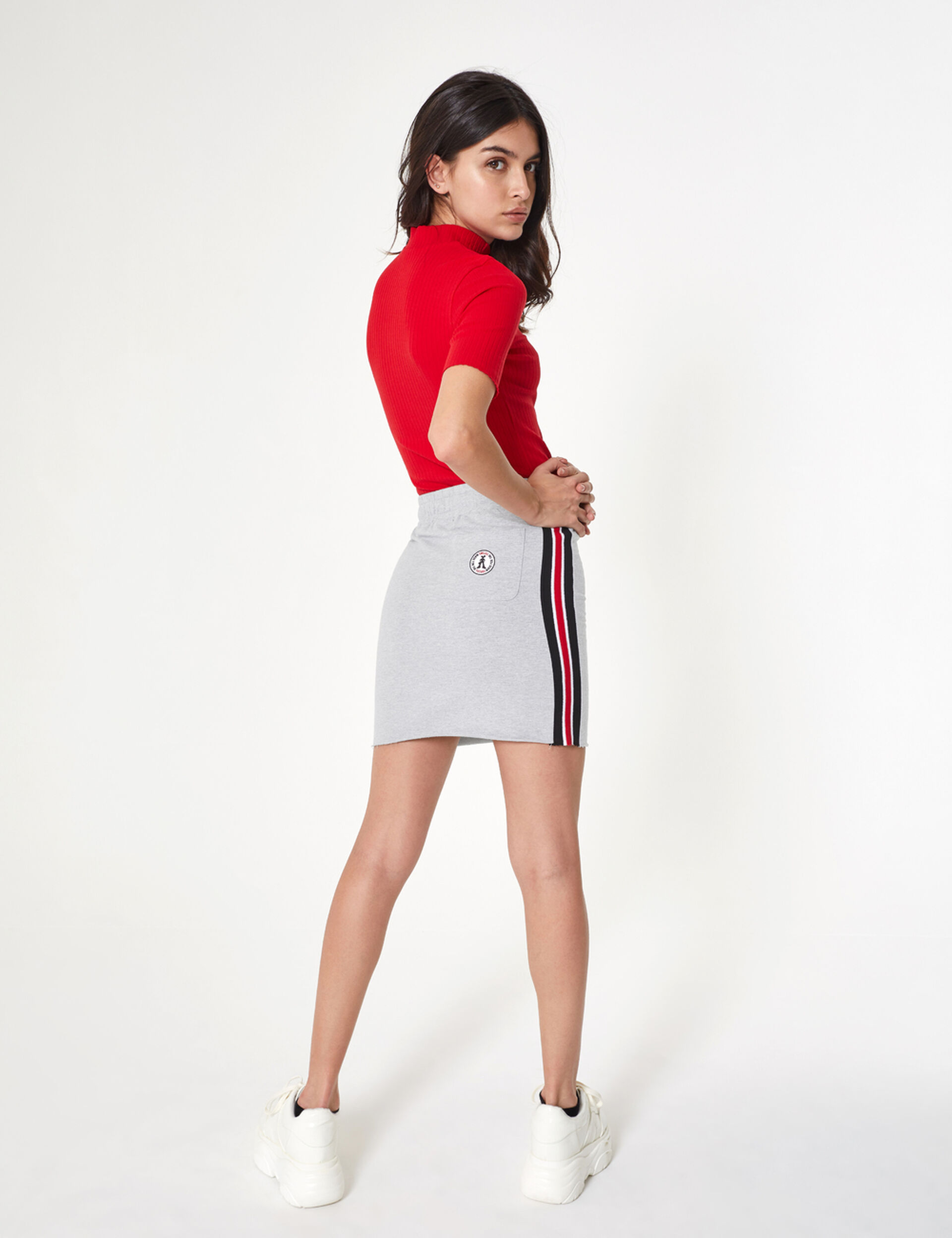 Grey jersey skirt with side stripe detail
