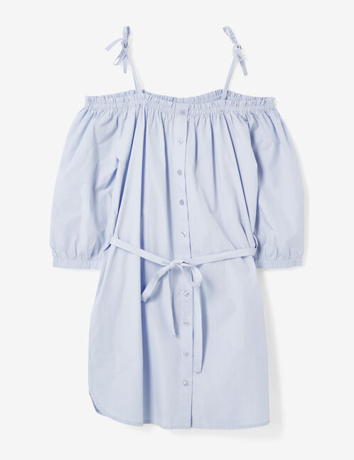 robe épaules dénudées bleu clair