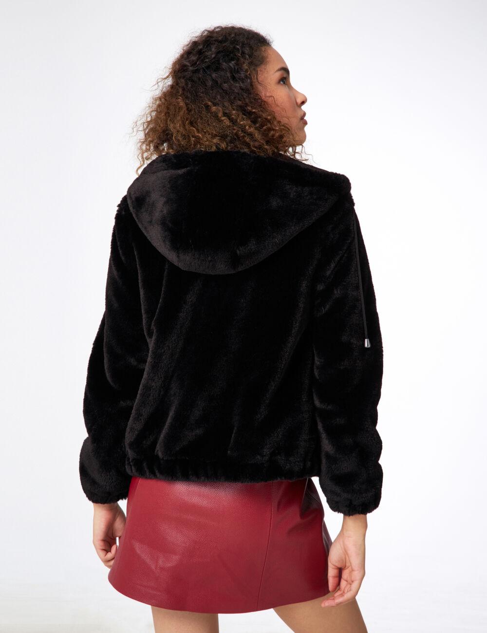 Veste moumoute femme noire