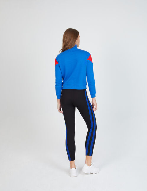 Black and blue leggings with side trim detail