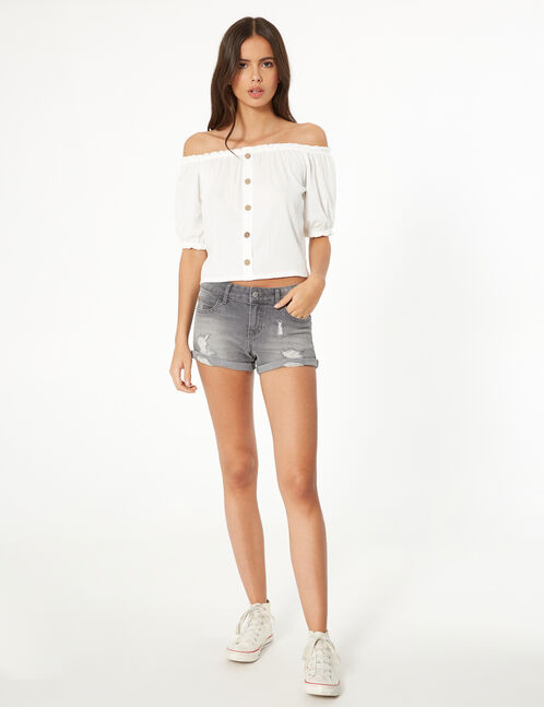 Grey low-rise denim shorts