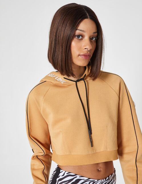 Cropped beige hoodie