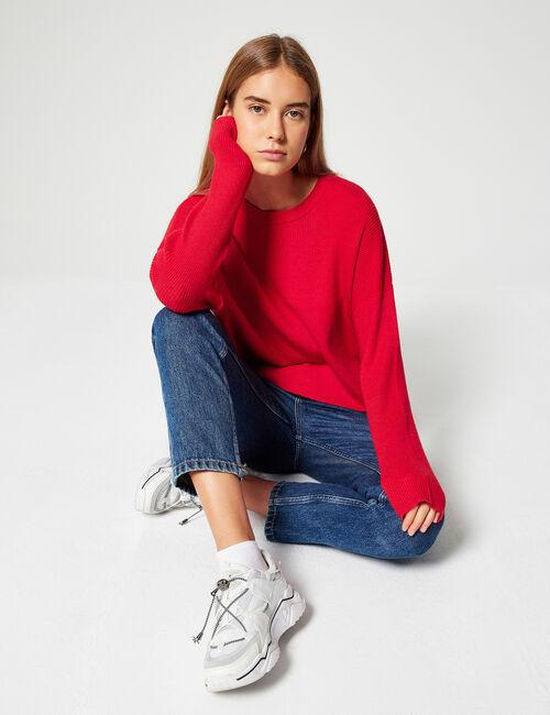 Loose-fit ribbed jumper