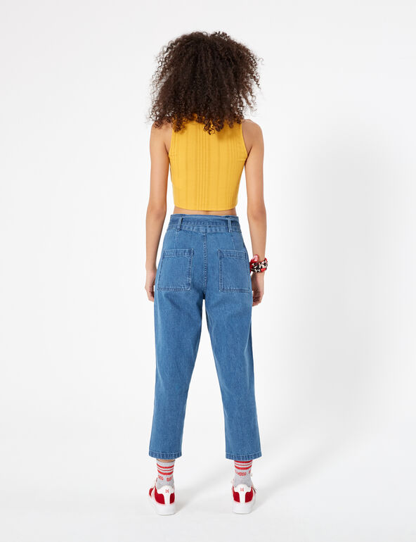 Medium blue mom jeans with belt