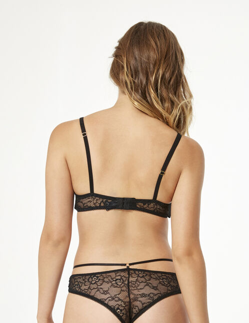 Lace tanga briefs with strap detail